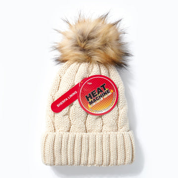 Heat Machine Pom Pom Hat - Cream