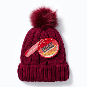 Heat Machine Pom Pom Hat - Burgundy