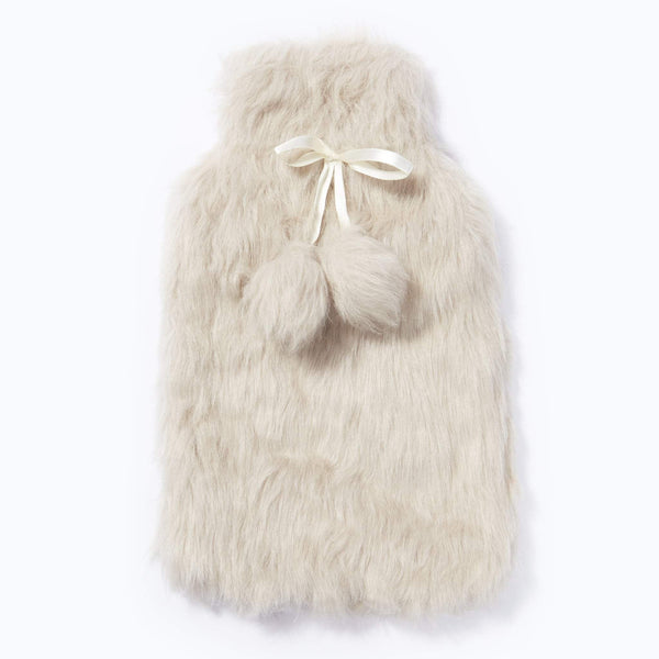 Faux Fur With Pom Pom Hot Water Bottle 2L