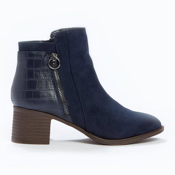 Suedette Panel Ankle Boot - Navy