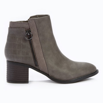 Suedette Panel Ankle Boot - Grey