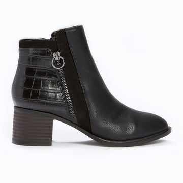 Suedette Panel Ankle Boot - Black