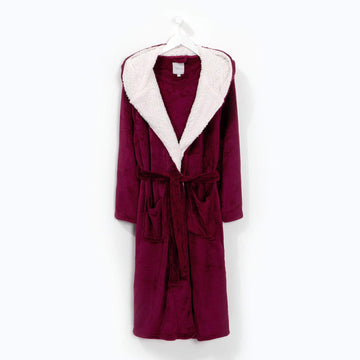 Flannel Fleece Hooded Robe Wine