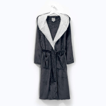 Flannel Fleece Hooded Robe Grey
