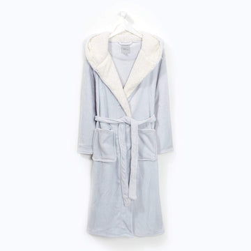 Flannel Fleece Hooded Robe Graphite