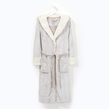 Sherpa Lined Hooded Robe Beige