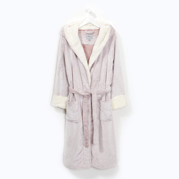 Sherpa Lined Hooded Robe Pink