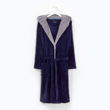 Hooded Robe Navy/Grey