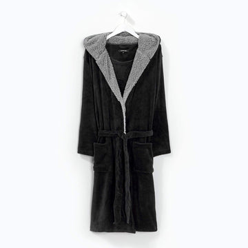 Hooded Robe Black/Grey
