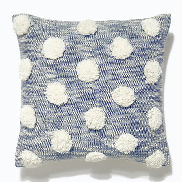 Pom Pom Cushion Navy 45x45cm