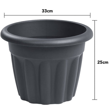 Vista Round Planter 33cm Graphite - Pack of 3