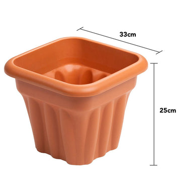 Vista Square Planter 33cm Terracotta - Pack of 3
