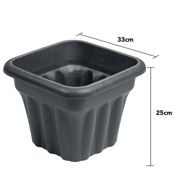 Vista Square Planter 33cm Graphite - Pack of 3
