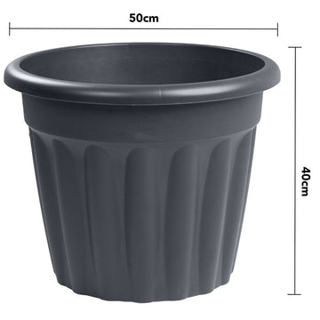 Vista Round Planter 50cm Graphite - Pack of 3
