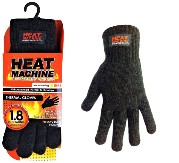 Heat Machine Knitted Gloves - Black