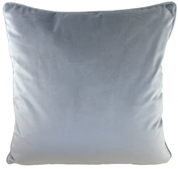 Piped Edge Velvet Cushion - Silver