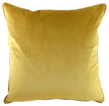 Piped Edge Velvet Cushion - Ochre