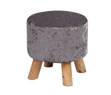 Crushed Velvet Foot Stool Silver