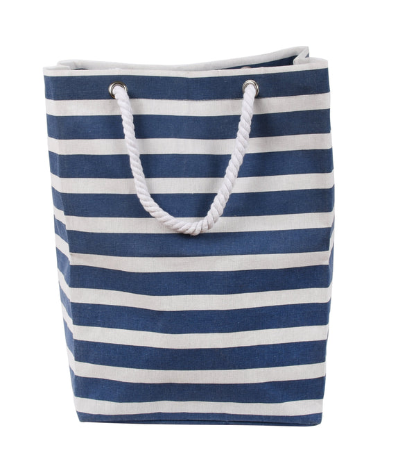 Fabric Laundry Bag Rope Handles Blue Stripe
