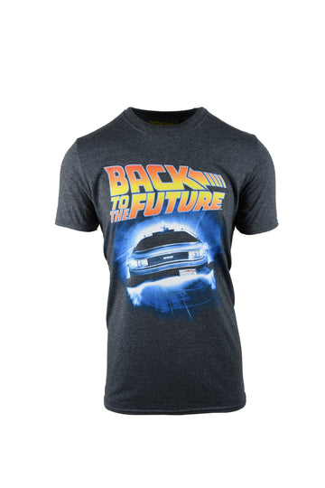 Back To The Future Logo Grey T-Shirt Marl