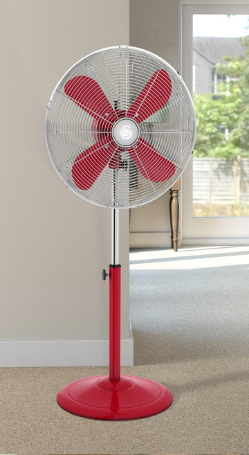 "Swan 16"" Retro Red Stand Fan"