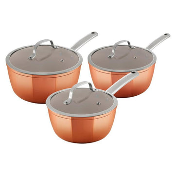 Tower 3pce Copper Forged Saucepans
