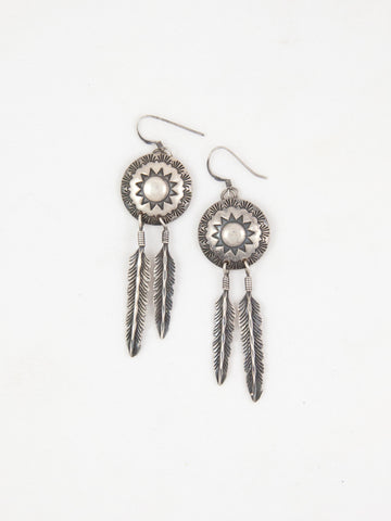 Sterling Navajo Feather Earrings