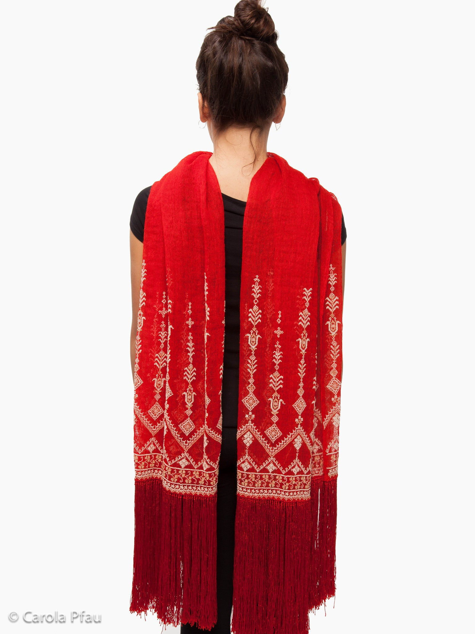 Syrian embroidered camel hair shawl