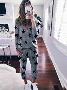Women'S Casual And Comfortable Long-Sleeved Trousers Knitted Suit