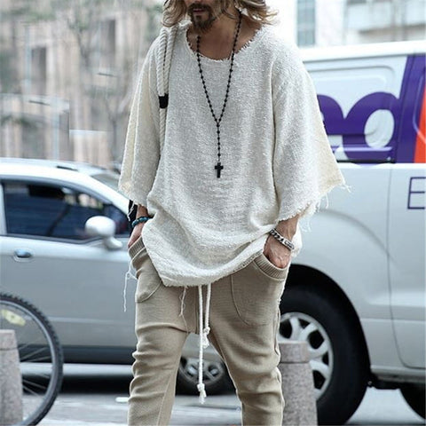 Man Long Sleeve Solid Color Loose Blouses