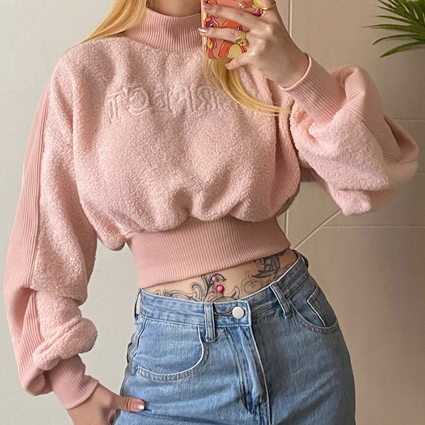 Women'S Pure Color Slim Long-Sleeved High-Neck Lamb Wool Sweater