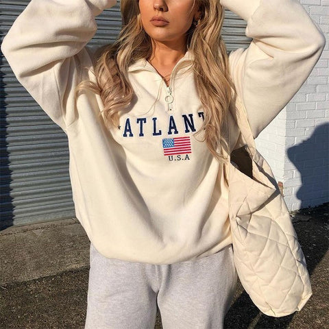 Women'S Casual Embroidered Long Sleeve Sports Sweater