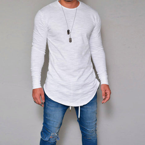 Man round neck slim solid color Blouses