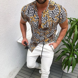 Man print short sleeve Blouses