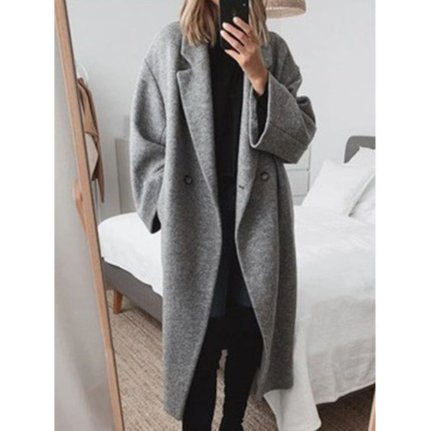 Women'S Solid Color Woolen Coat