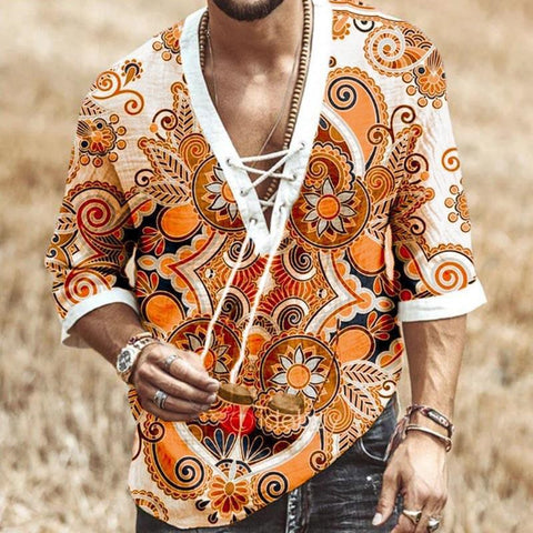 Men's casual lace-up sleeve print Blouses