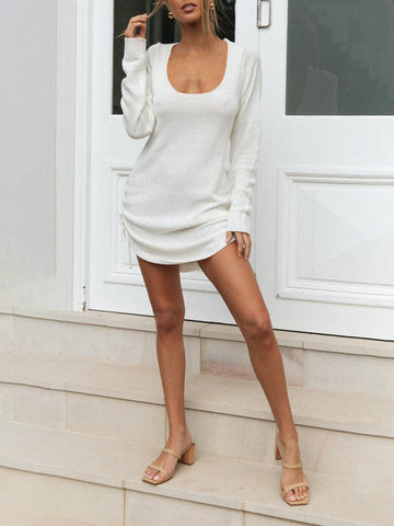 Women'S Sensual Halter Long Sleeve Bottoming Shirt Dress