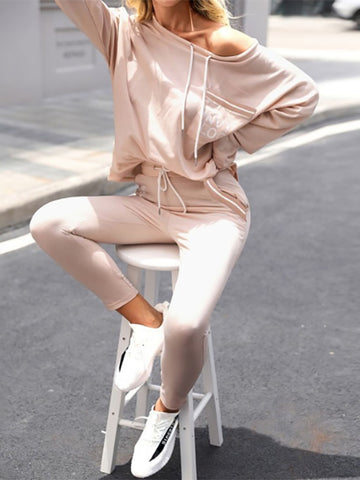 Women'S Fashion  Letter-Print Lace-Up Long-Sleeved Slim Suit