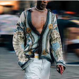 Men's Fashion Loose Printed Long Sleeve Blouses