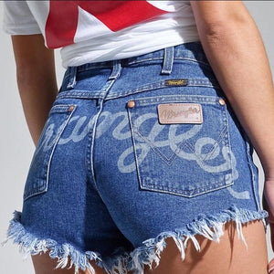 Letter denim shorts