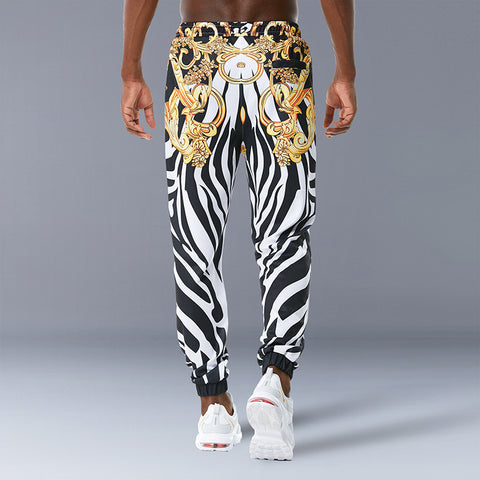 Men Tethered Casual Pants Zebra Print Pants
