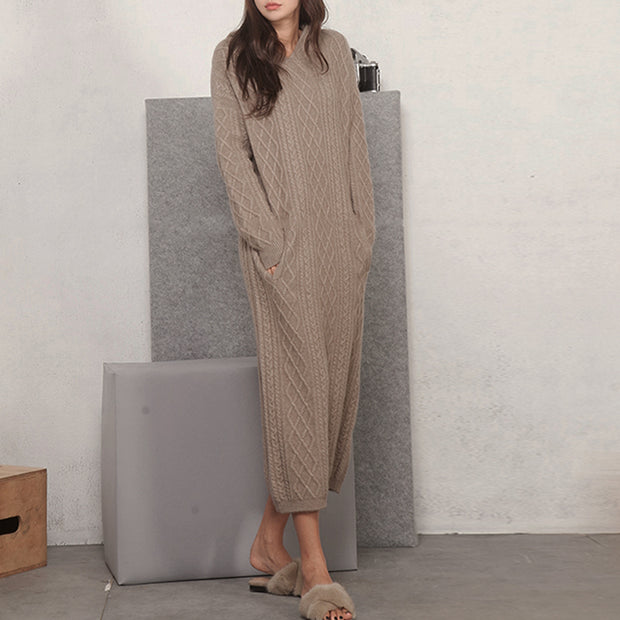 Women'S Fashion Loose Over The Knee Long Hooded Knitted Suit