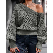Women'S Fashion Exy Slanted Shoulder Off Shoulder Loose Knit Solid Color Lantern Sleeve Pullover Sweater