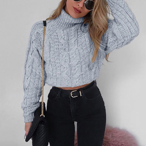 Woman Long Sleeve High Neck Sexy Navel Twist Knit Sweaters