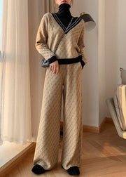 Women'S Double-Sided Jacquard Wool Knitted Wide-Leg Pants Temperament Suit
