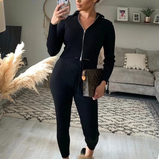 Women'S  Autumn And Winter Fashion Long-Sleeved Sweater Two-Piece Suit