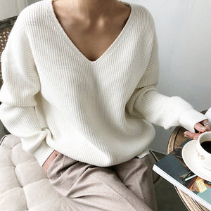 Women'S V-Neck Sweater Pullover Short Long Sleeve Sweater