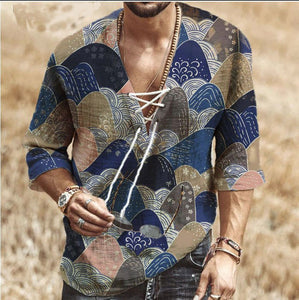 Men's Fashion Lace Sleeve Print Blouses