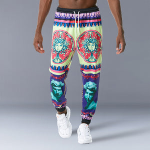 Men Palace Style Retro Print Casual Pants