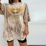 Vintage round neck printed short-sleeved t-shirts